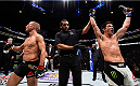 BOSTON, MA - JANUARY 17:  Dominick Cruz (R) celebrates his split-decision victory over TJ Dillashaw (L) in their UFC bantamweight championship bout during the UFC Fight Night event inside TD Garden on January 17, 2016 in Boston, Massachusetts. (Photo by Jeff Bottari/Zuffa LLC/Zuffa LLC via Getty Images)