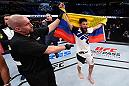 CURITIBA, BRAZIL - MAY 14:  Bryan Barberena celebrates after defeating Warlley Alves of Brazil in their middleweight bout during the UFC 198 event at Arena da Baixada stadium on May 14, 2016 in Curitiba, Parana, Brazil.  (Photo by Josh Hedges/Zuffa LLC/Zuffa LLC via Getty Images)