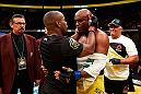 LAS VEGAS, NV - JULY 09:  (L-R) Daniel Cormier and Anderson Silva of Brazil congratulatte each other after their light heavyweight bout during the UFC 200 event on July 9, 2016 at T-Mobile Arena in Las Vegas, Nevada.  (Photo by Josh Hedges/Zuffa LLC/Zuffa LLC via Getty Images) *** Local Caption *** Daniel Cormier; Anderson Silva