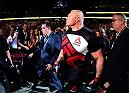 LAS VEGAS, NV - JULY 09: Brock Lesnar walks to the Octagon to face Mark Hunt of New Zealand in their heavyweight bout during the UFC 200 event on July 9, 2016 at T-Mobile Arena in Las Vegas, Nevada.  (Photo by Harry How/Zuffa LLC/Zuffa LLC via Getty Images) *** Local Caption *** Brock Lesnar