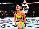 CLEVELAND, OH - SEPTEMBER 10:  Bethe Correia of Brazil celebrates after defeating Jessica Eye in their women's bantamweight bout during the UFC 203 event at Quicken Loans Arena on September 10, 2016 in Cleveland, Ohio. (Photo by Josh Hedges/Zuffa LLC/Zuffa LLC via Getty Images)