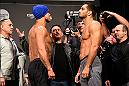 MANCHESTER, ENGLAND - OCTOBER 07:  (L-R) Vitor Belfort of Brazil and Gegard Mousasi of the Netherlands face-off during the UFC 204 weigh-in at the Manchester Central Convention Complex on October 7, 2016 in Manchester, England. (Photo by Josh Hedges/Zuffa LLC/Zuffa LLC via Getty Images)
