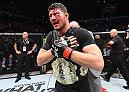 MANCHESTER, ENGLAND - OCTOBER 08:  Michael Bisping of England celebrates his victory over Dan Henderson in their UFC middleweight championship bout during the UFC 204 Fight Night at the Manchester Evening News Arena on October 8, 2016 in Manchester, England. (Photo by Josh Hedges/Zuffa LLC/Zuffa LLC via Getty Images)