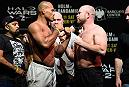 BROOKLYN, NEW YORK - FEBRUARY 10:  (L-R) Ronaldo Souza of Brazil and Tim Boetsch face off during the UFC 208 weigh-in inside Kings Theater on February 10, 2017 in Brooklyn, New York. (Photo by Jeff Bottari/Zuffa LLC/Zuffa LLC via Getty Images)