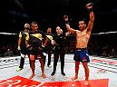 FORTALEZA, BRAZIL - MARCH 11:   Joe Soto celebrates his decision victory over Rani Yahya of Brazil in their bantamweight bout during the UFC Fight Night event at CFO - Centro de Forma�co Olimpica on March 11, 2017 in Fortaleza, Brazil. (Photo by Buda Mendes/Zuffa LLC/Zuffa LLC via Getty Images)