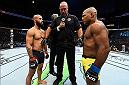 KANSAS CITY, MO - APRIL 15:  (L-R) Demetrious Johnson and Wilson Reis of Brazil face off in their UFC flyweight fight during the UFC Fight Night event at Sprint Center on April 15, 2017 in Kansas City, Missouri. (Photo by Josh Hedges/Zuffa LLC/Zuffa LLC via Getty Images)