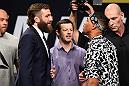 DALLAS, TX - MAY 12:  (L-R) Michael Chiesa and Kevin Lee face off during the UFC Summer Kickoff Press Conference at the American Airlines Center on May 12, 2017 in Dallas, Texas. (Photo by Josh Hedges/Zuffa LLC/Zuffa LLC via Getty Images)