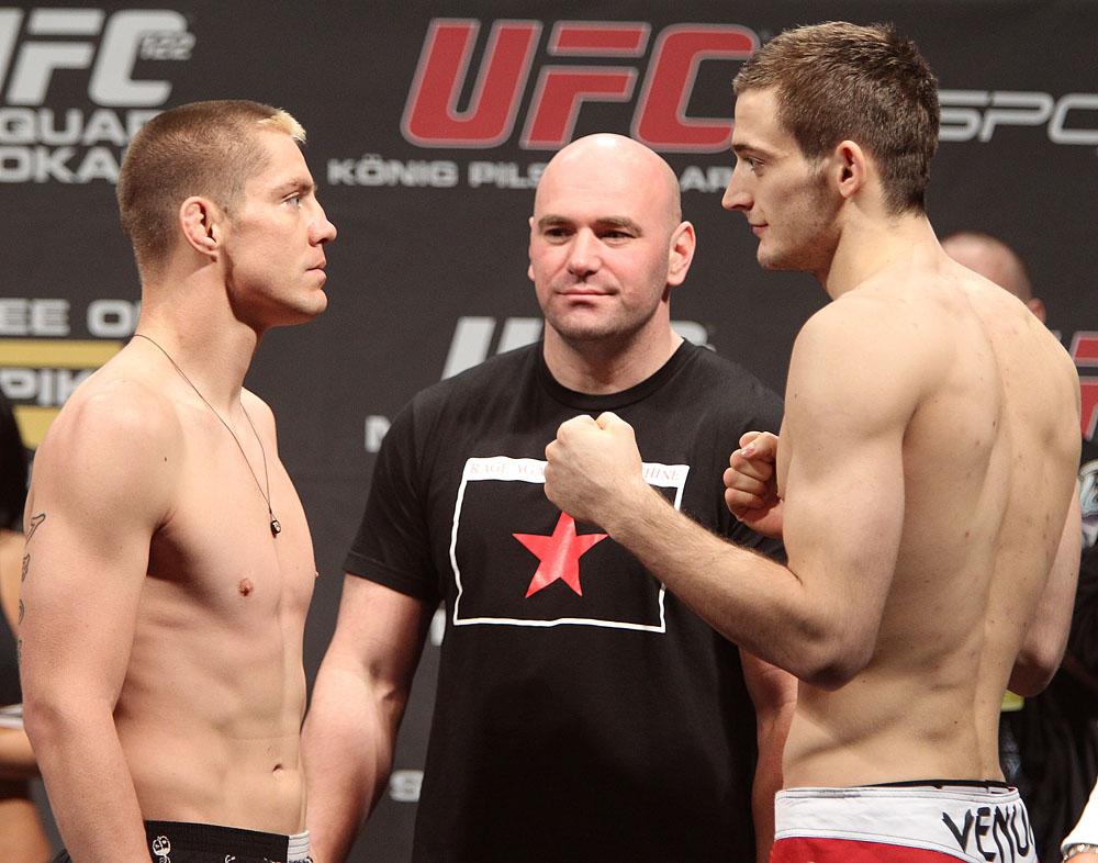 (L-R) Ludwig vs. Osipczak at the UFC 122 weigh-in at the Kšnig Pilsener Arena on November 12,  2010 in Oberhausen, Germany.  (Photo by Josh Hedges/Zuffa LLC/Zuffa LLC via Getty Images)
