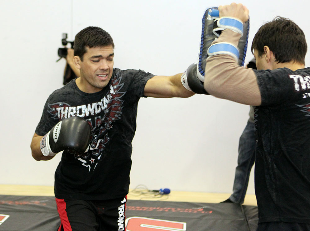 yoto Machida (L) works out for the media at the UFC 123 open workouts at the Detroit Athletic Club in Detroit, Michigan on November 18, 2010  (Photo by Josh Hedges/Zuffa LLC/Zuffa LLC via Getty Images)