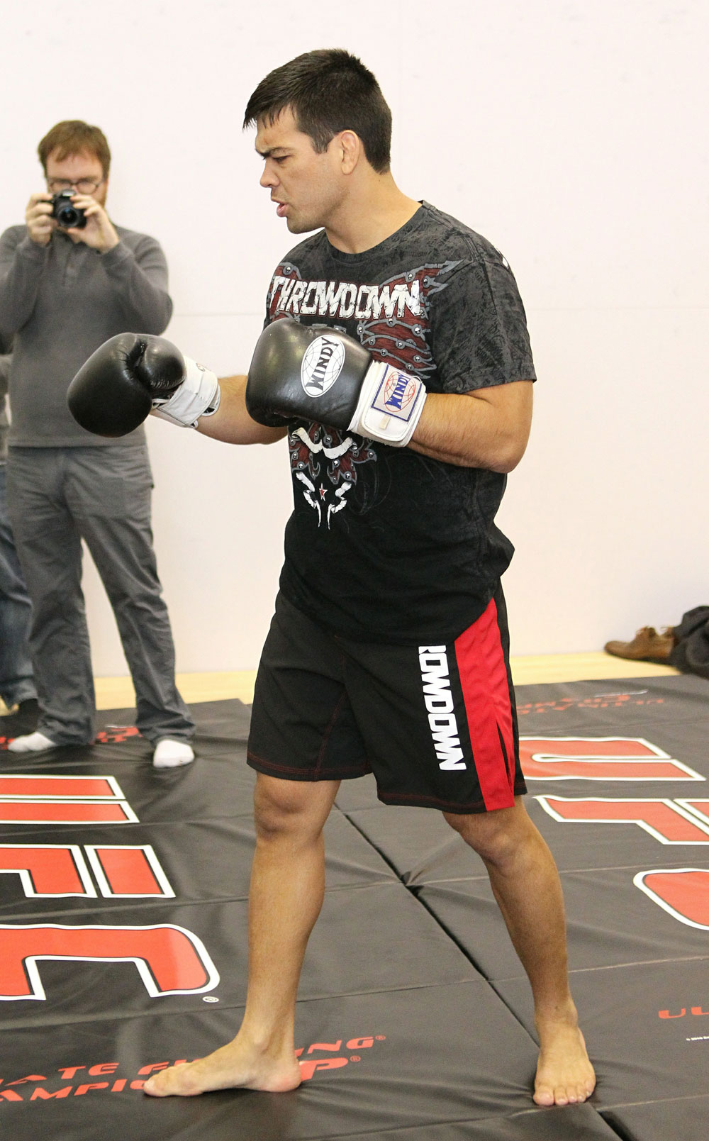 Lyoto Machida works out for the media at the UFC 123 open workouts at the Detroit Athletic Club in Detroit, Michigan on November 18, 2010  (Photo by Josh Hedges/Zuffa LLC/Zuffa LLC via Getty Images)