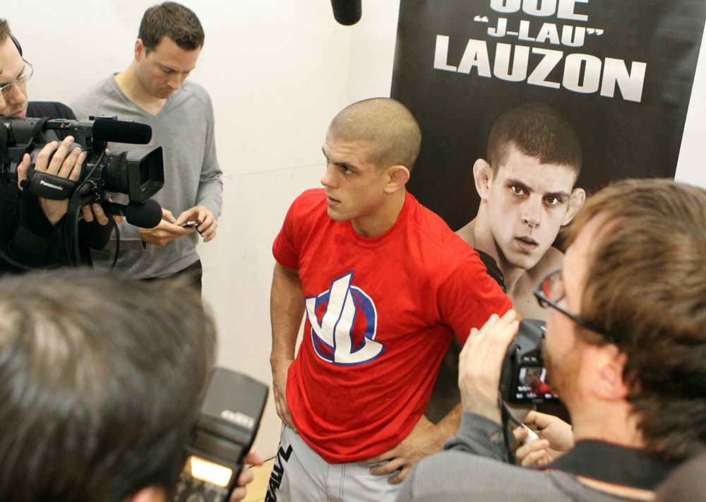 Joe Lauzon answers questions from the media at the UFC 123 open workouts at the Detroit Athletic Club in Detroit, Michigan on November 18, 2010  (Photo by Josh Hedges/Zuffa LLC/Zuffa LLC via Getty Images)