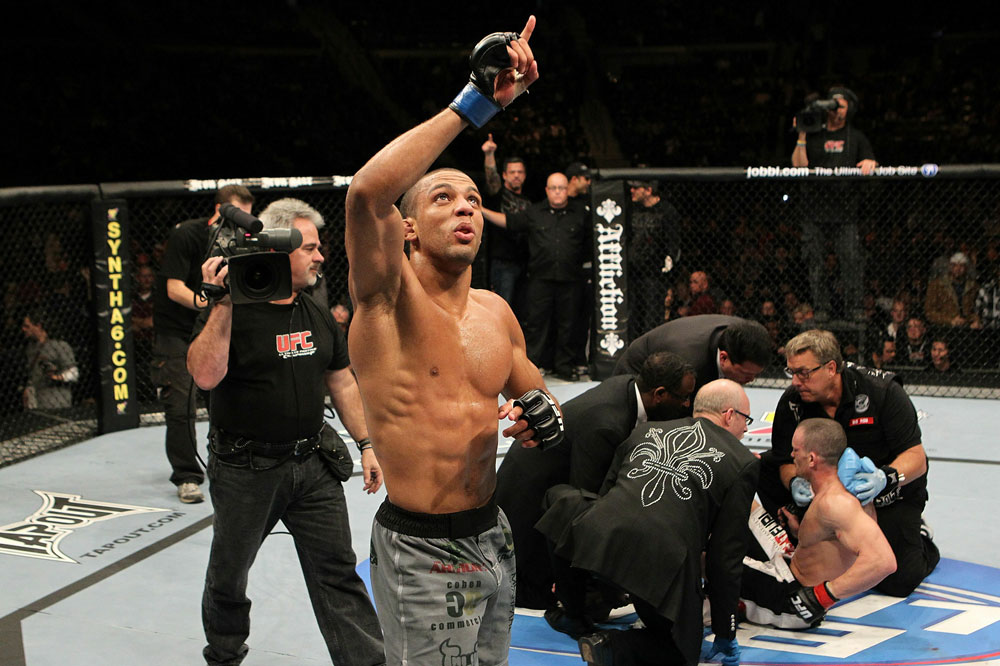 UFC123: Edson Barboza celebrates after he's announced winner by TKO against Mike Lullo at UFC 123.
