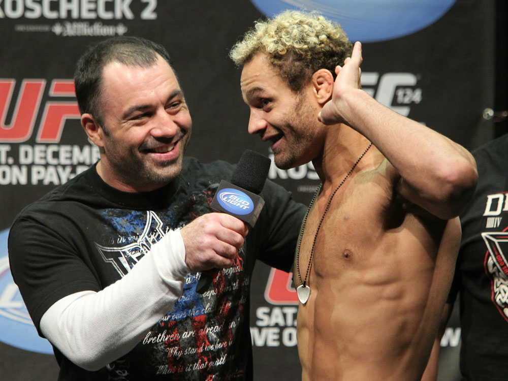 UFC 124 Weigh-in: Josh Koscheck listens to the boos from the crowd in Montreal, Canada.