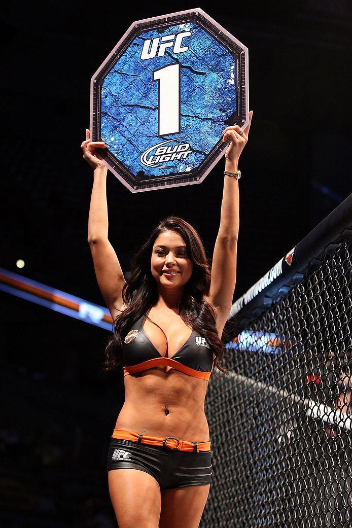 MILWAUKEE, WI - AUGUST 31:  UFC Octagon Girl Arianny Celeste introduces the first round between Jared Hamman and Magnus Cedenblad in their UFC middleweight bout at BMO Harris Bradley Center on August 31, 2013 in Milwaukee, Wisconsin. (Photo by Ed Mulholland/Zuffa LLC/Zuffa LLC via Getty Images) *** Local Caption *** Arianny Celeste