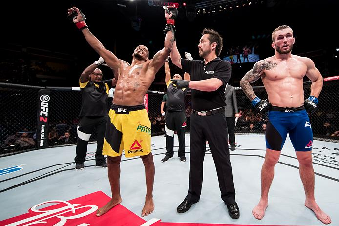 BRASILIA, BRAZIL - SEPTEMBER 24: Alan Patrick of the Brazil celebrates victory over Steve Ray of Scotland in their lightweight UFC bout during the UFC Fight Night event at Nilson Nelson gymnasium on September 24, 2016 in Brasilia, Brazil. (Photo by Buda Mendes/Zuffa LLC/Zuffa LLC via Getty Images)