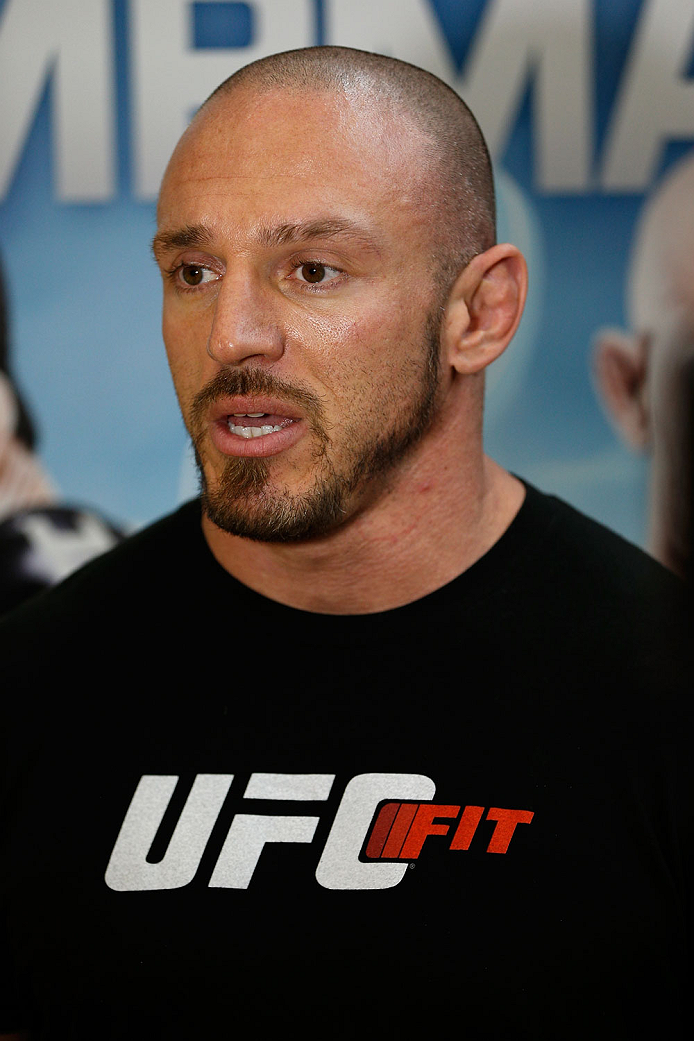 INDIANAPOLIS, IN - AUGUST 26:  Trainer Mike Dolce interacts with media at Banker's Life Fieldhouse on August 26, 2013 in Indianapolis, Indiana. (Photo by Josh Hedges/Zuffa LLC/Zuffa LLC via Getty Images)