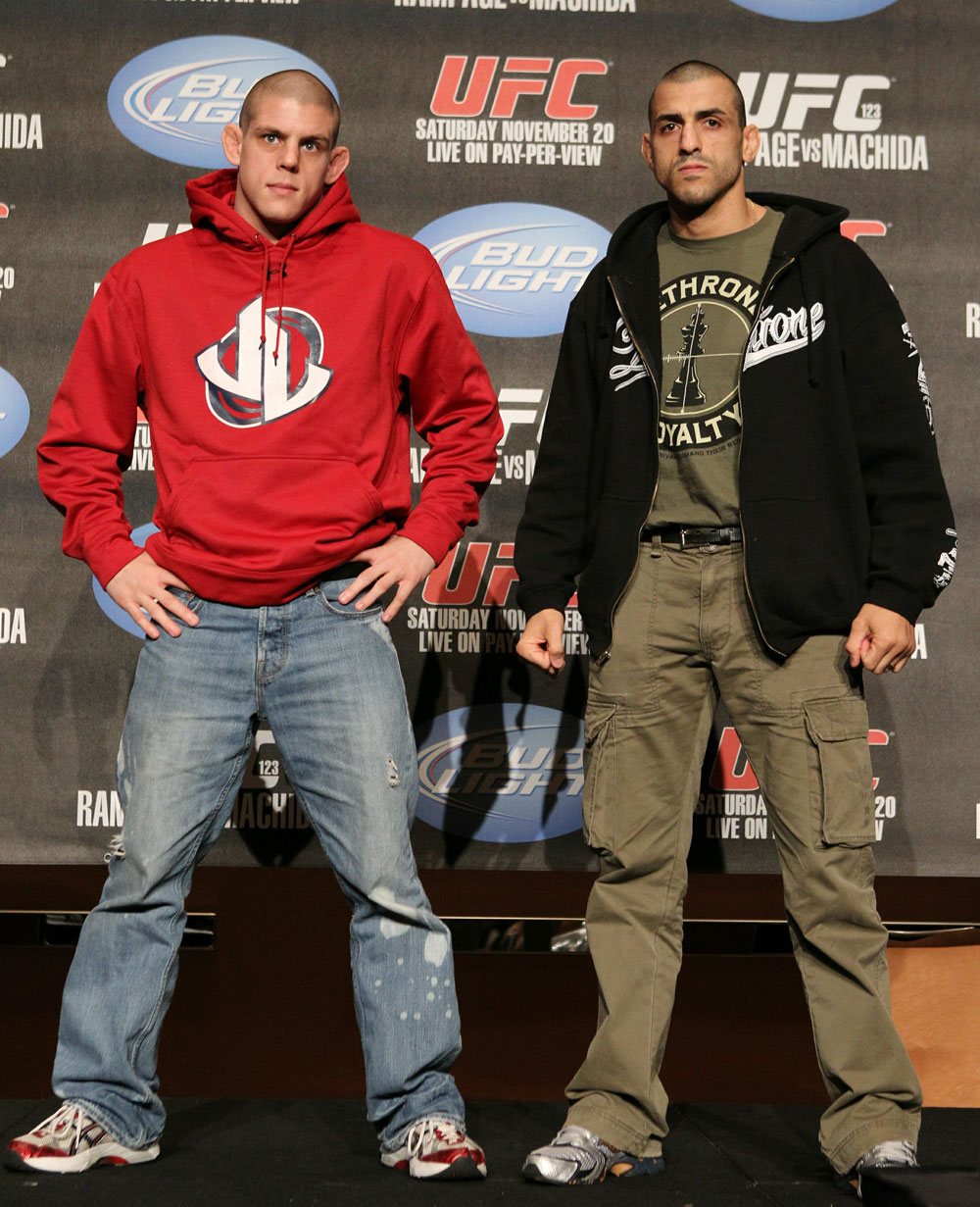 (L-R) Joe Lauzon and George Sotiropoulos pose for photos at the UFC 123 pre-fight press conference at the MGM Grand Hotel and Casino in Detroit, Michigan on November 17, 2010  (Photo by Josh Hedges/Zuffa LLC/Zuffa LLC via Getty Images)