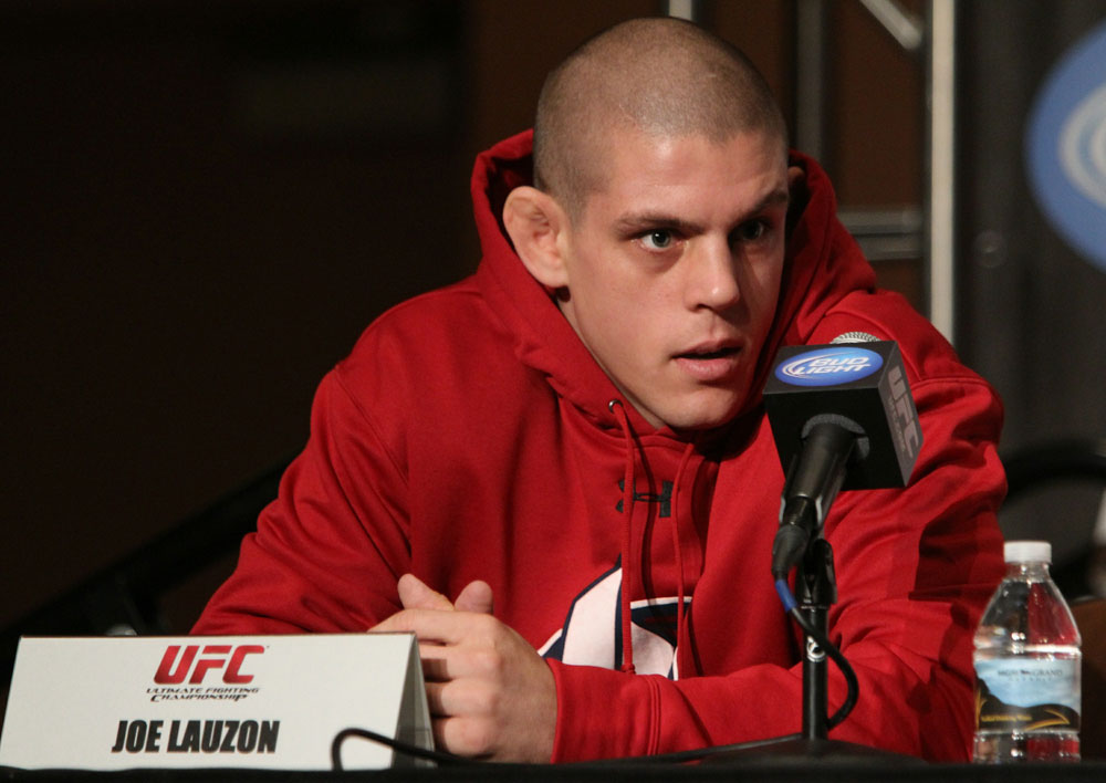 Joe Lauzon at the UFC 123 pre-fight press conference at the MGM Grand Hotel and Casino in Detroit, Michigan on November 17, 2010  (Photo by Josh Hedges/Zuffa LLC/Zuffa LLC via Getty Images)