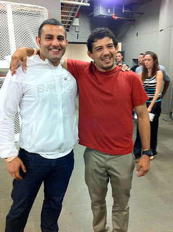 "DENVER, CO - AUGUST 11:  Strikeforce lightweight champion Gilbert ""El Nino"" Melendez and Tareq Azim attends UFC 150 inside Pepsi Center on August 11, 2012 in Denver, Colorado. (Photos by Zuffa LLC)"