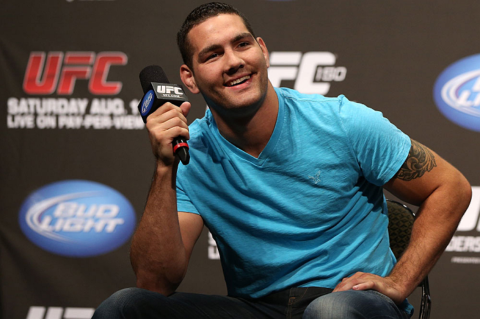 DENVER, CO - AUGUST 10:  Chris Weidman interacts with fans during a Q&A session before the UFC 150 weigh in at Pepsi Center on August 10, 2012 in Denver, Colorado. (Photo by Josh Hedges/Zuffa LLC/Zuffa LLC via Getty Images)
