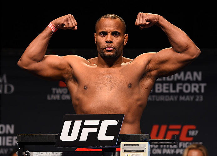 LAS VEGAS, NV - MAY 22:   Daniel Cormier weighs in during the UFC 187 weigh-in at the MGM Grand Conference Center on May 2, 2015 in Las Vegas, Nevada. (Photo by Josh Hedges/Zuffa LLC/Zuffa LLC via Getty Images)