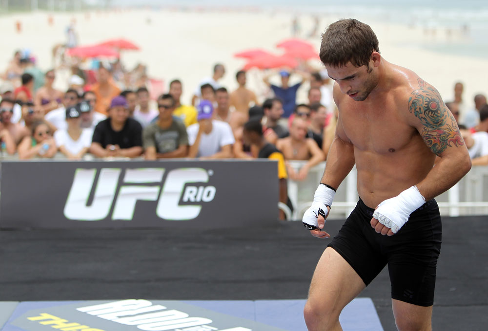 RIO DE JANEIRO, BRAZIL - JANUARY 11:  Chad Mendes works out for the media and fans during the UFC 142 Open Workouts at Barra de Tijuca Beach on January 11, 2012 in Rio de Janeiro, Brazil.  (Photo by Josh Hedges/Zuffa LLC/Zuffa LLC via Getty Images)