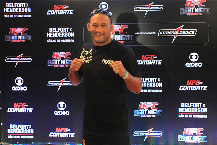 GOIANIA, BRAZIL - NOVEMBER 7: Dan Henderson attends the UFC Fight Night open workout at Buena Vista Shopping on November 7, 2013 in Goiania, Brazil.  (Photo by Weimer Carvalho/Zuffa LLC/Zuffa LLC via Getty Images)