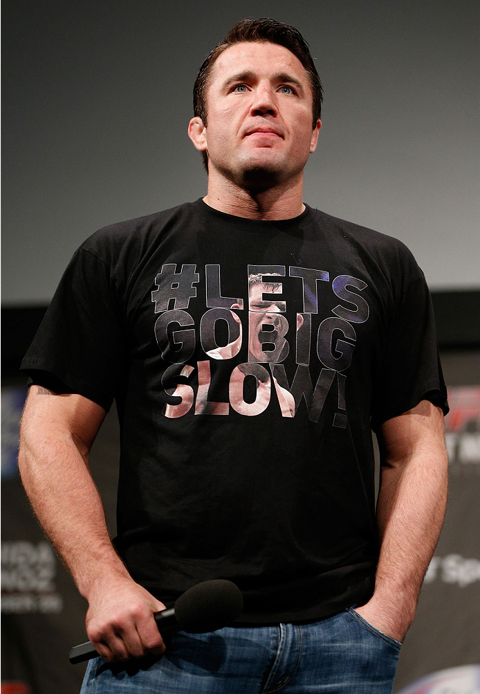 MANCHESTER, ENGLAND - OCTOBER 25:  Chael Sonnen interacts with fans during a Q&A session before the UFC weigh-in event at Manchester Central on October 25, 2013 in Manchester, England. (Photo by Josh Hedges/Zuffa LLC/Zuffa LLC via Getty Images)