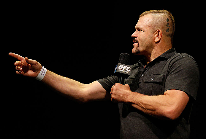 BALTIMORE, MD - APRIL 25:  Former UFC light heavyweight champion Chuck Liddell interacts with fans during a Q&A session before the UFC 172 weigh-in at the Baltimore Arena on April 25, 2014 in Baltimore, Maryland. (Photo by Josh Hedges/Zuffa LLC/Zuffa LLC via Getty Images)