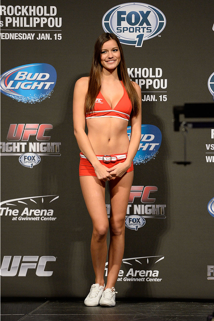 DULUTH, GEORGIA - JANUARY 14:  UFC Octagon Girl Vanessa Hanson stands on stage during the UFC Fight Night weigh-in event at the Arena at Gwinnett Center on January 14, 2014 in Duluth, Georgia. (Photo by Jeff Bottari/Zuffa LLC/Zuffa LLC via Getty Images)